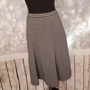 New Directions Black & White Midi Skirt